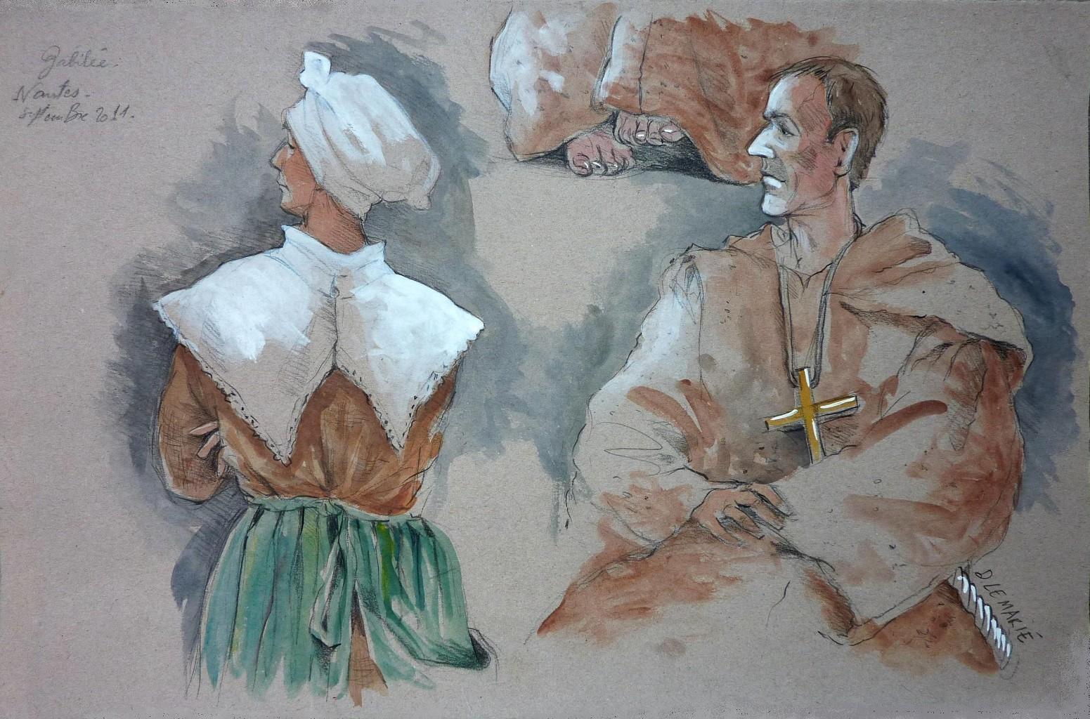 Madame Sarti, gouvernante de Galilée, et le petit moine